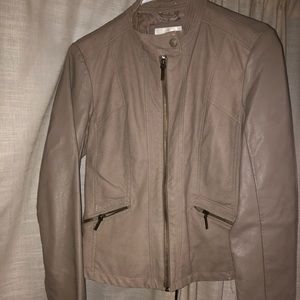 Faux tan leather jacket
